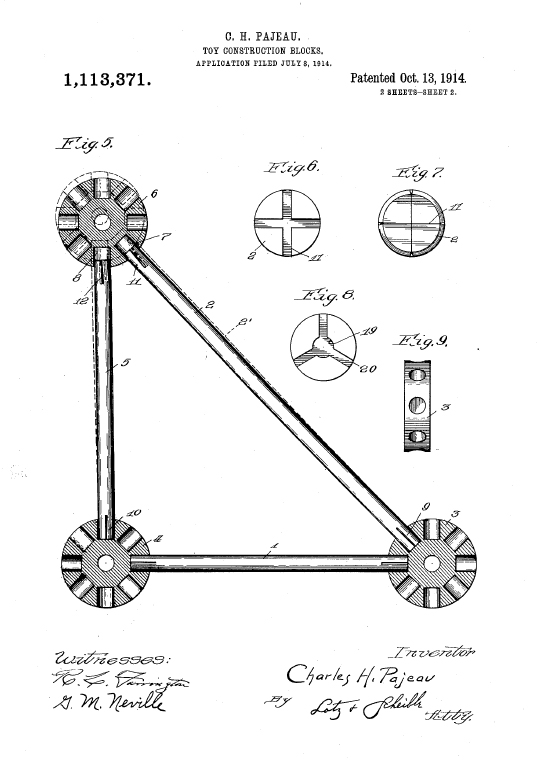 1914 patent drawing of the original design for Tinkertoys by Charles H. Pajeau.